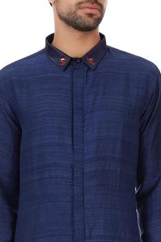 Indigo organic silk blue collar shirt with hand embellishments