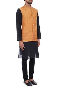 Orange hand embroidered organic silk nehru jacket