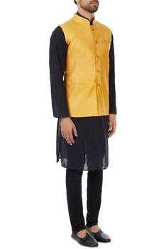 Mustard eco-silk hand embroidered nehru jacket