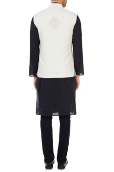 Off-white hand embroidered organic silk nehru jacket