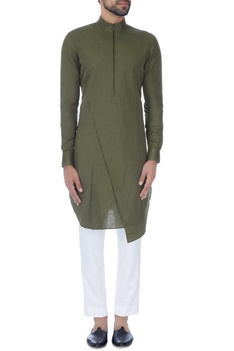 Olive green zipper style paneled kurta