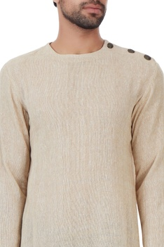 Beige woven asymmetric style linen jute kurta