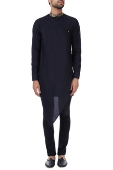 Black kinkhab embroidered collar draped kurta