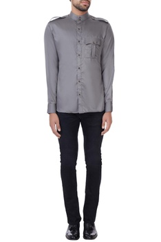 Grey button down shirt with shoulder epaulets
