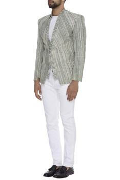 Textured khadi blazer jacket