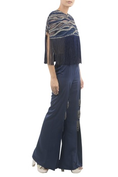 Tassel Embroidered Cape With Pleated Pants
