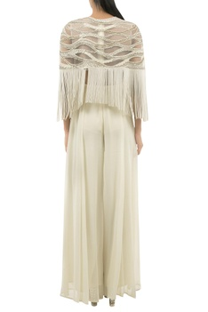 Jumpsuit With Cutdana Embroidered Fringe Cape