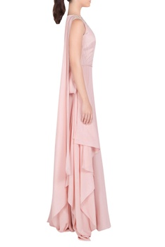 Asymmetric embellished gown with side drape