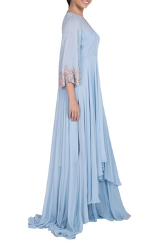 Pleated embellished gown with flared sleeves