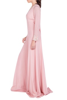 Embellished gown with draped back