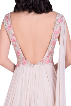 Embroidered yoke gown with attached drape