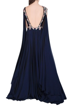 Pleated embroidered trail gown