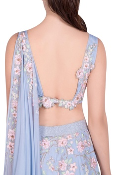 Floral embroidered lehenga set with attached drape