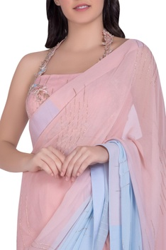 Embroidered Saree With Backless Blouse
