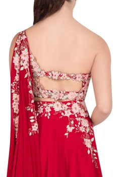 Floral embroidered attached draped blouse & lehenga set