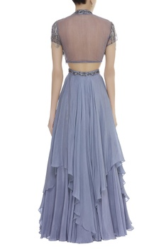 High neck Embellished Crop-Top With Skirt