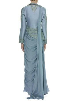 Dori Embroidered Jacket With Pre-Draped Sari