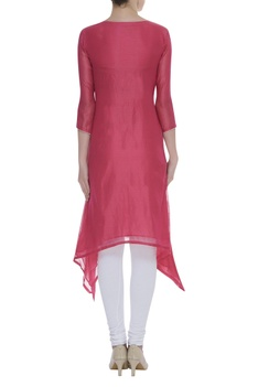 Flower embroidered asymmetric tunic