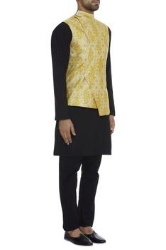 Printed asymmetric nehru jacket