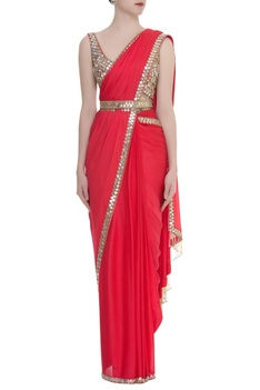 Mirror embroidered pre stitched sari with blouse