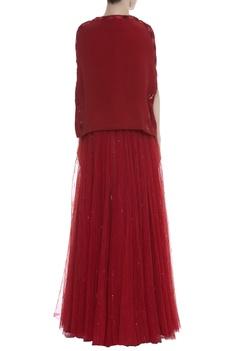 Embellished cape blouse & Lehenga Set