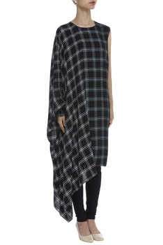 Checkered One Side Kaftan Style Tunic
