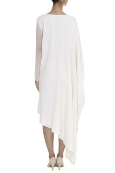 Kaftan sleeve Flower & Bird Print Dress