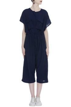Cropped Handloom cotton jumpsuit
