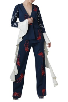 Embroidered pant suit set with dramatic sleeves