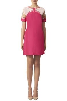 Crewel embroidered short dress