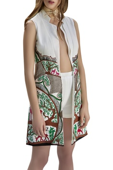 Crewel & hand embroidered long jacket