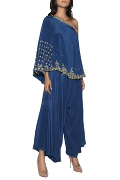 One shoulder embroidered top with dhoti pants