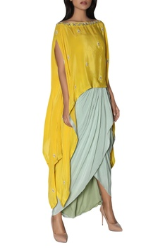 Asymmetric embroidered tunic with dhoti skirt