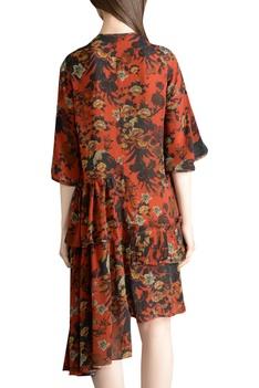Printed asymmetric midi dress