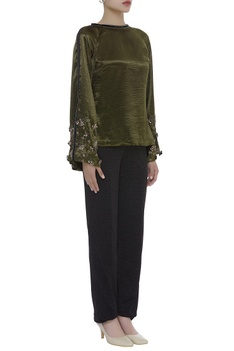 flared Embroidered sleeves top with pant