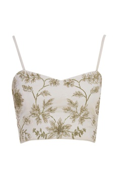 Thread Embroidered Jumpsuit With Bustier
