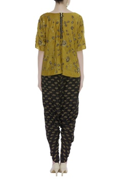 Embroidered Asymmetric Top With Dhoti Pants