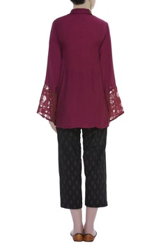 Cutwork Shirt With Printed Pants