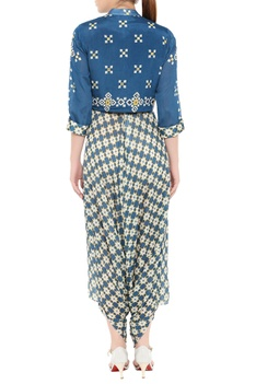 Draped jumpsuit with mirror embroidered jacket