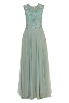 Parrot motif Sequin & Bead Embroidered Gown