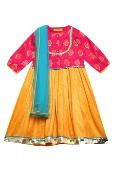 Dress with embroidered blouse & dupatta