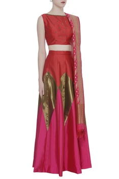 Hand Embroidered Blouse With Lehenga & Dupatta