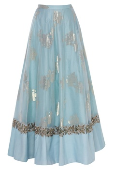 Hand Embroidered Ruffle Blouse With Lehenga