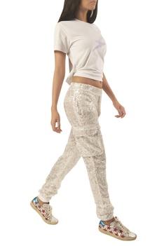 Sequin embellished ankle length track pants
