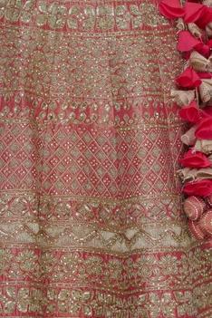 Embroidered lehenga set with double dupatta