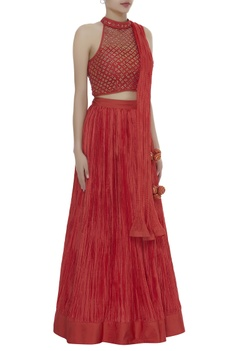 Pleated lehenga with embrodiered blouse & dupatta