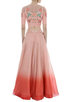 Pink embroidered crop top and organza lehenga