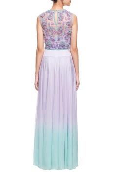 Lilac 3d floral embroidered skirt set