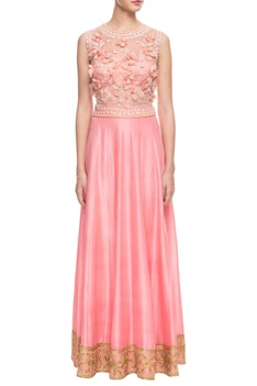 Peach 3d floral embroidered skirt set