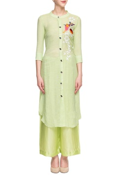 Light green embroidered palazzo set